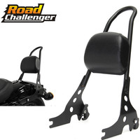 Black Luggage Rack Sissy Bar Rear Passenger Backrest Cushion Pad Motorcycle For Harley Sportster XL 883C 883R 1200R 120
