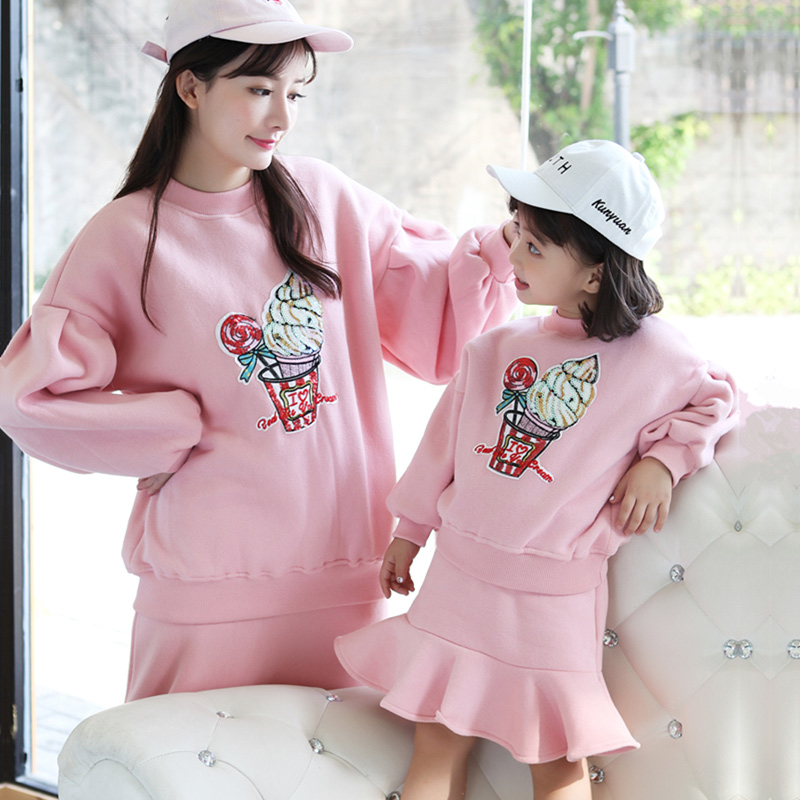 Mother Daughter Sweater and Dress Suit Winter Family Matching Clothes Girl Lantern Sleeve Ice Cream Plus Cashmere Outerwear Sets drop shoulder lantern sleeve heathered sweater