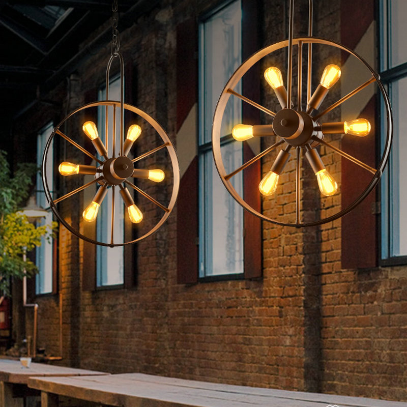 Indoor wrought iron Metal Wheel Pendant Lamp High Quality Loft Northern Europe American Vintage Retro Country Pendant Light northern europe black iron chain pendant light 110 240v 40w with vintage pendant light