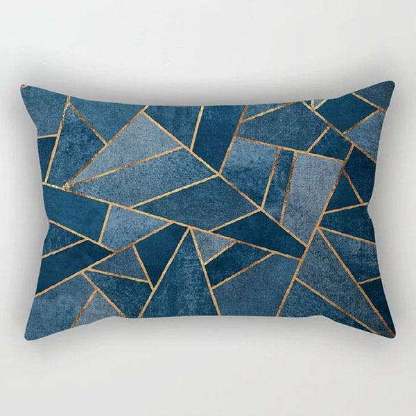 vintage geometric sofa cushion cover european emerald copper blue pink grey stone triangles throw pillow case decoration 30x50cm