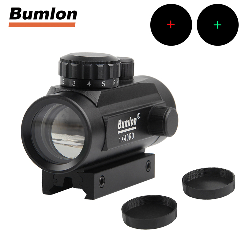 Tactical 1x40 Green Red Dot Sight Scope Optics Holographic Sight Hunting Shooting Air Rifle Airsoft w/ 11mm 20mm Mount HT5-0003 vector optics mini 1x20 tactical 3 moa red dot scope holographic sight with quick release mount fit for ak 47 7 62 ar 15 5 56