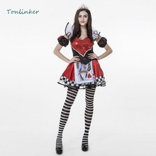 Halloween  Red & Black Poker Heart Queen Sexy Costumes Game Adult Womens Party Carnival Costume Dresses