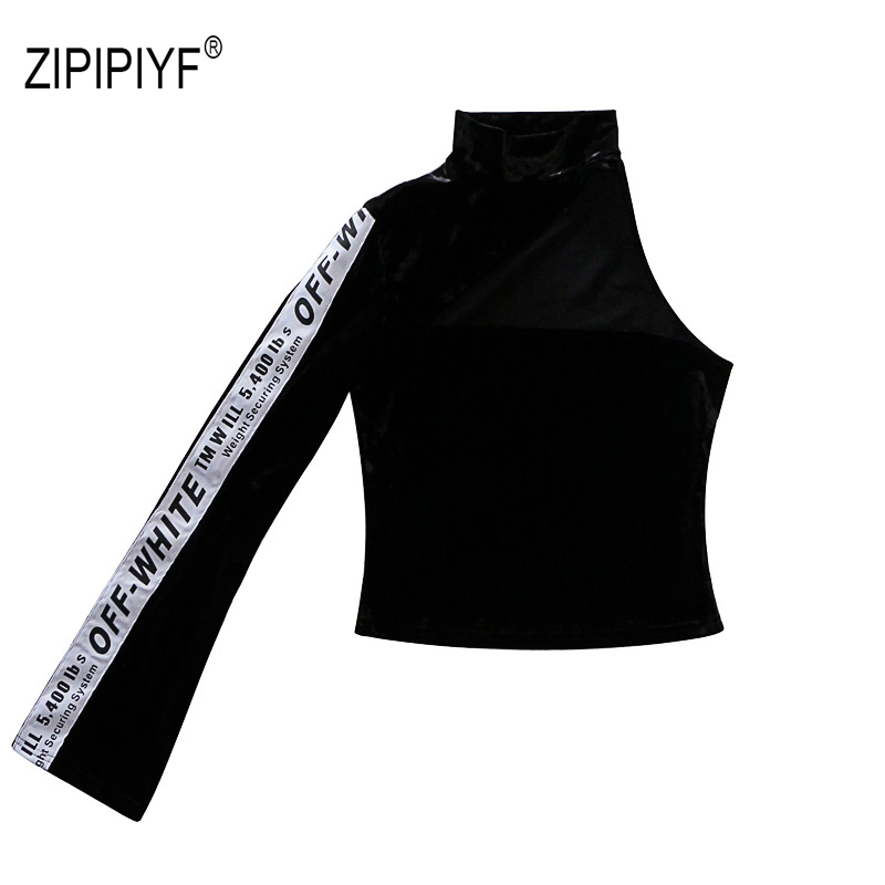 Black Female T-Shirt Off Shoulder Turtleneck Sexy Bodycon Top Patchwork Long Sleeve Velvet T-shirts Korean Dancing Clothes B373