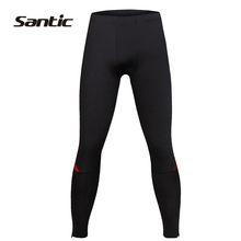SANTIC Cycling Men's Compression Running Tights Pants Body Fit Outdoor Sports Riding Bike Pants Bicycle Accessories,Black Red
