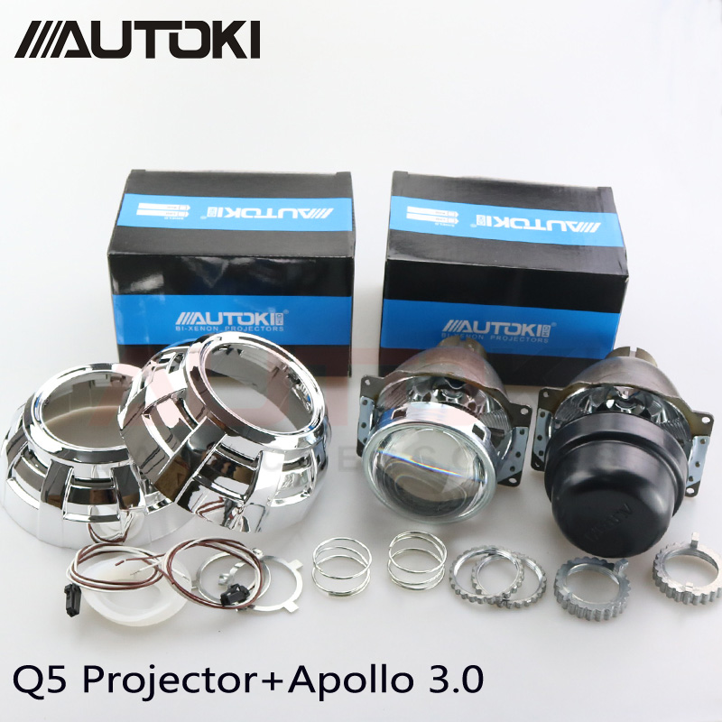 Autoki Car Styling Automobiles Metal Q5 3 0 inch HID Bi xenon Headlight Projector Lens Apollo