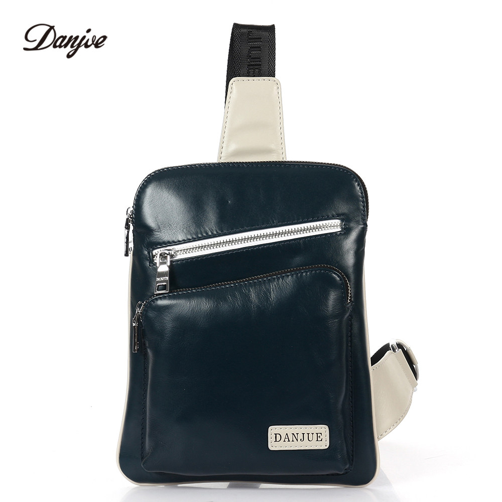 DANJUE Genuine Leather Men Chest Bags Fashion Male Sling Bag Daily Brand Real Leather Back Pack Small Messenger Daypack Man danjue brand men chest bags real genuine leather male messenger bag casual fashion highquality big capacity travel crossbody bag