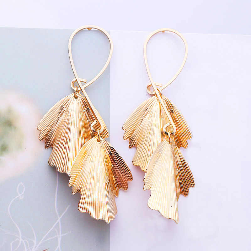 2019 Pendientes Mujer Hot Fashion Wholesale Jewelry Metal Leaves Dangling Long Statement Drop Earrings For Women Bijoux ES212