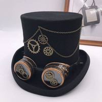 Retro Punk Unisex Party Black Hat Vintage Steampunk Gear Gothic Goggles Top Hats Wool Fedora Hats Cosplay Hats
