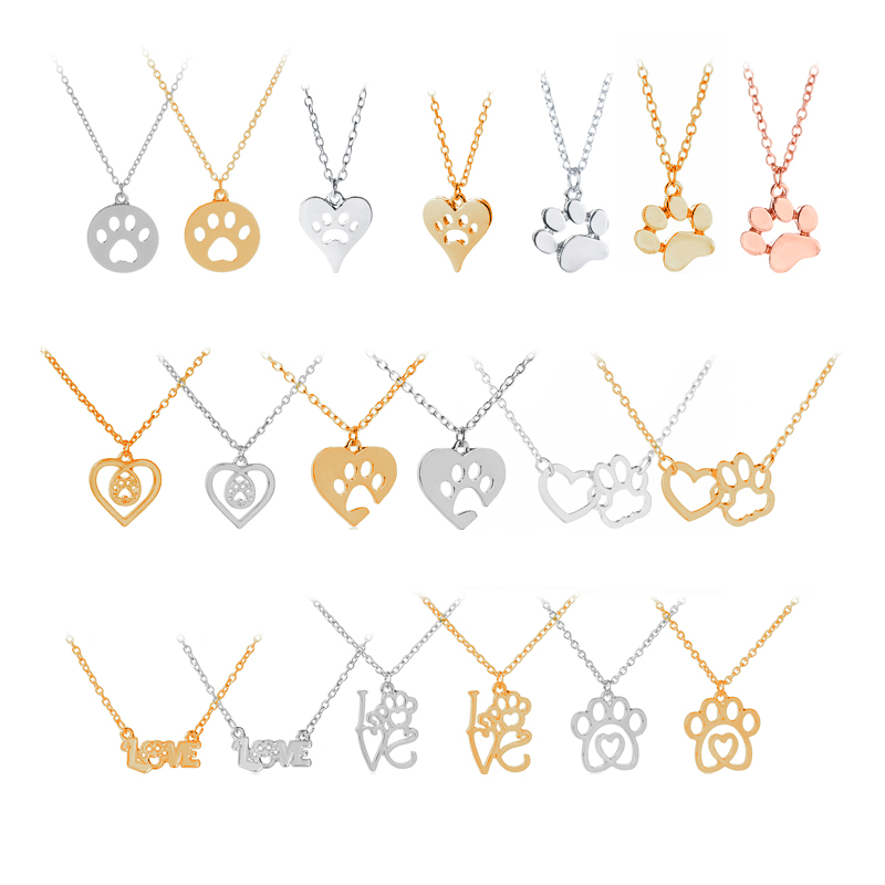 hollow pet paw print necklaces dog cat lover pet jewelry heart puppy memorial charm necklace woman 9 style animal love gift girl