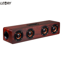 LEORY Brand New Home Office Wooden 12W USB Charging Bluetooth Speaker Wireless TF Card AUX Mode