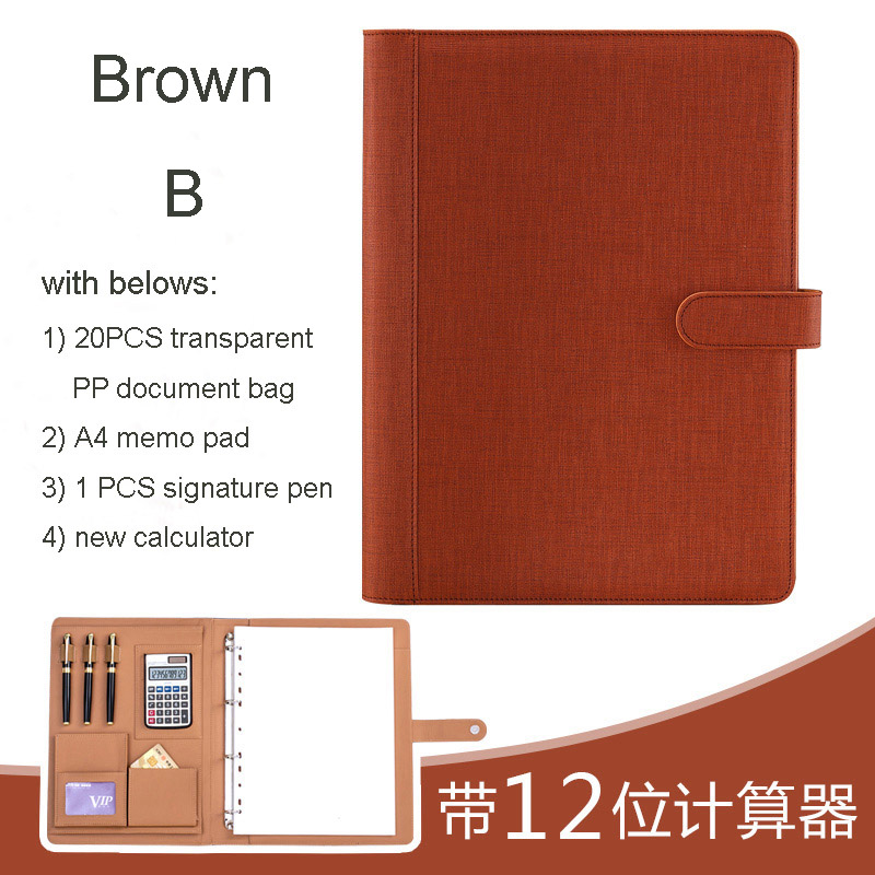 A4 Business PU Leather Portfilio Manager Document Bag File Folder Holder Brief Case With Ring Binder Calculater Snap Button 1163