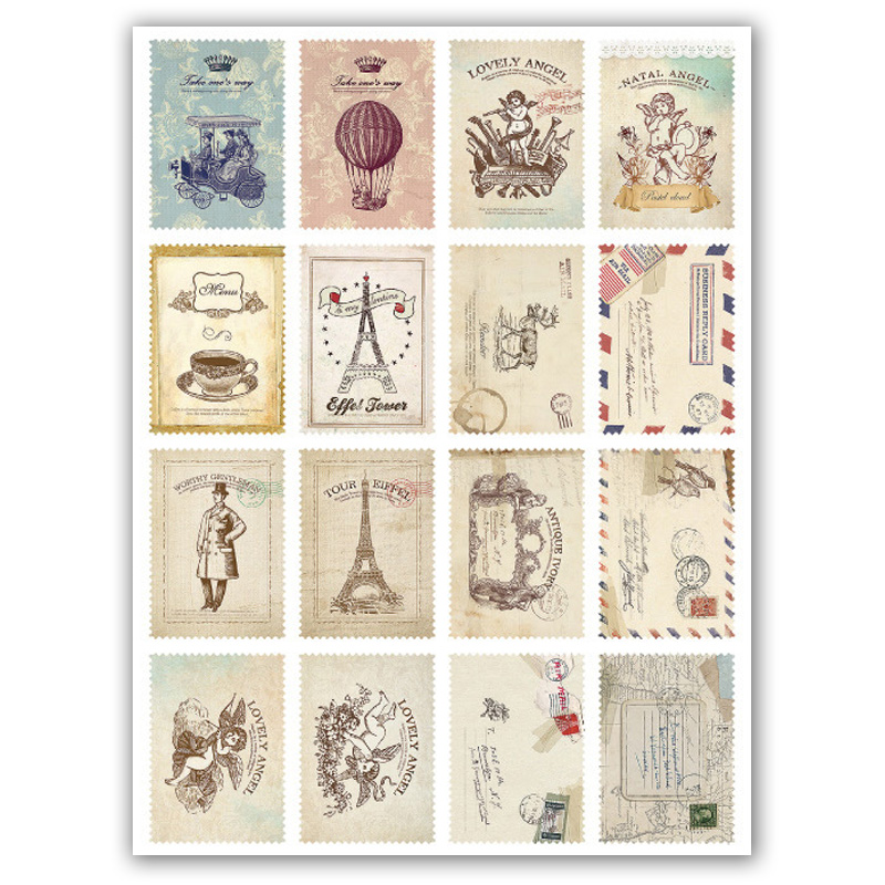 64 Pcs/Lot Vintage Stamp Flower Sticker Decoration Decal DIY Diary Album Scrapbooking Envelope Seal Post It Stationery lovely chicken transparent clear silicone stamp seal for diy scrapbooking photo album decorative clear stamp sheets