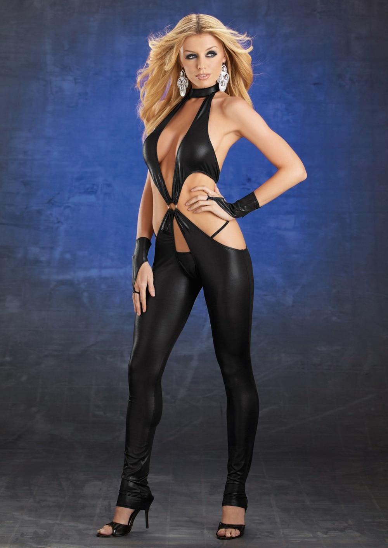 Женский, Черный промежность кожа Sexy Боди 638 полюс платье для танцев Сексуальное белье ...