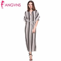 ANGVNS Long Striped Dress Elegant Lady 2017 Summer Print Batwing Half Sleeve Sexy Vestidos Casual Maxi