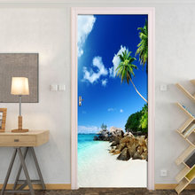 Художественная наклейка на двери с видом море масляная краска