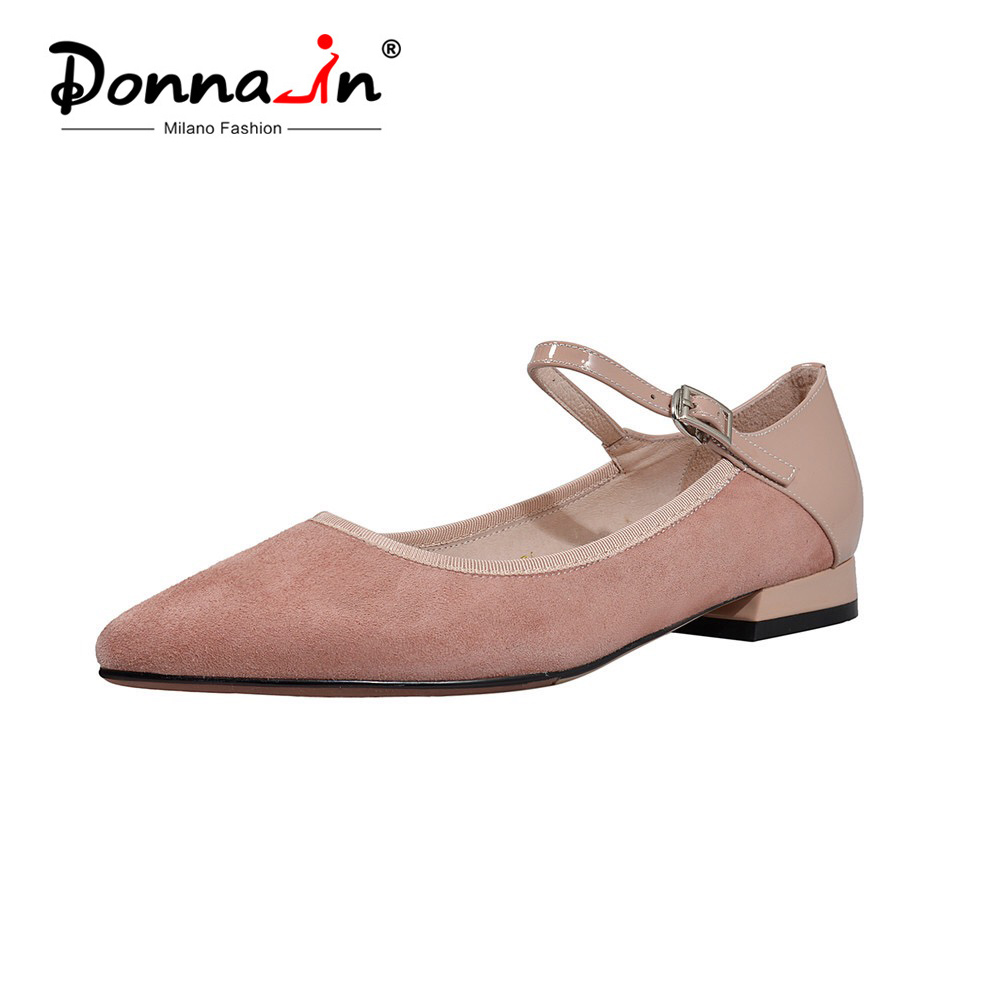 Donna in Flat Mary Jane Women Genuine Leather Pointed Toe Flats Shoes Elegant Comfortable Ladies Office