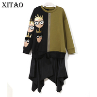 XITAO Europe 2017 Autumn Winter New Casual Women Cartoon Pattern Patchwork Sequined False Two Pieces