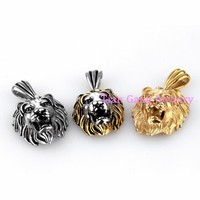 3 Size Punk Lion Necklace For Men Women 316L Stainless Steel Pendant Boll Chain Gold Silver