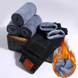 Image 1 - 2019ใหม่ผู้ชายกิจกรรมThicken Warmกางเกงยีนส์ฤดูใบไม้ร่วงกางเกงยีนส์ฤดูหนาวWarm Flocking Warm Soft Menกางเกงยีนส์Fitสำหรับ 15