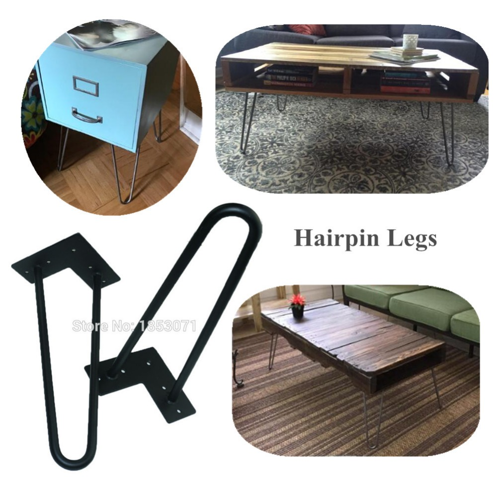 Heavy duty black metal coffee table legs 12 inches 1/2dia 2rods furniture DIY leg parts set of 4 made in China free shipping multi color hairpin coffee table legs in 12inch height 3 rods made from heavy duty 12mm cold steel set of 4