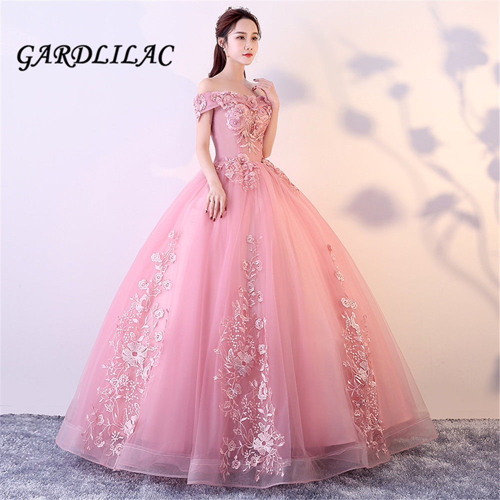 Cameo Red Long Prom Dress 2019 Off The Shoulder Ball Gown Tulle Lace Appliques Masquerade Sweet