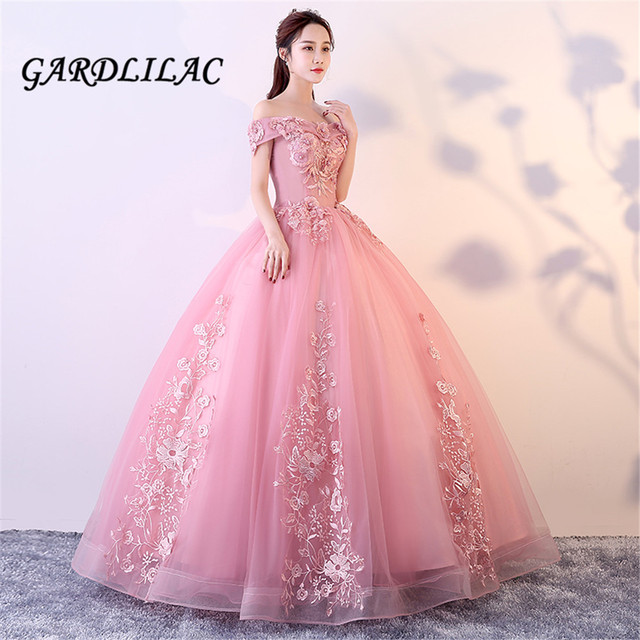 b871481f67 Cameo Red Long Prom Dress 2019 Off The Shoulder Ball Gown Tulle Lace  Appliques Masquerade Sweet 16 Dresses Wedding Party dresses