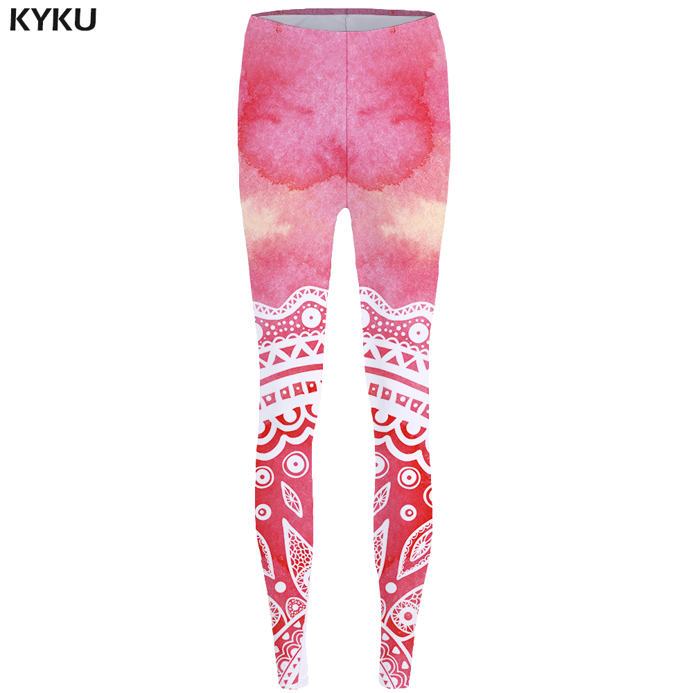 KYKU Mandala Leggings Flower Sexy Leggings Pink Long Sexy Print Legging Stretch Pants leggins Women Fitness 2017 in Leggings from Women 39 s Clothing