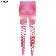KYKU Mandala Leggings Flower Sexy Pink Long Print Legging Stretch Pants  leggins Women Fitness 2017