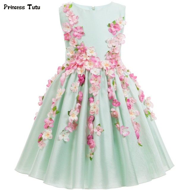 8dca767e5 Beautiful Light Green Flower Fairy Girls Princess Dress Kids Party ...