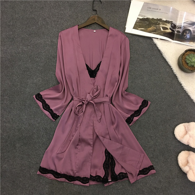 51edd73067 Lisacmvpnel Sexy Lace Women Robe Sets Spaghetti Strap Nightdress+Robe Set Women  Bathrobe Elegant Women