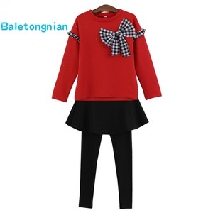 Комплект одежды для девочек, рубашка с бантом + леггинсы, осенний комплект из 2 предметов для девочек, зимняя детская одежда, повседневная по...