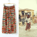 Korean Elegant Summer Pepper Bandage Chiffon Vintage Maxi Skirt Women Bohemian Long Skirt Ladies Pleated Skirt