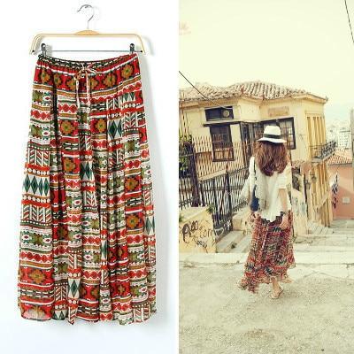 Korean Elegant Summer Pepper Bandage Chiffon Vintage Maxi Skirt Women Bohemian Long Skirt Ladies Pleated Skirt