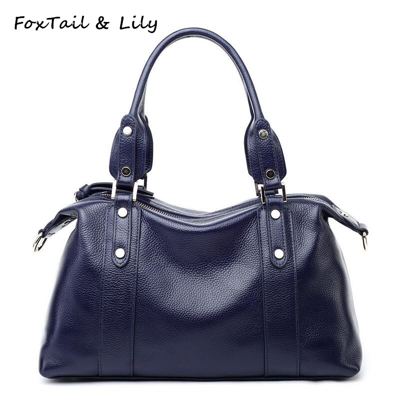 FoxTail & Lily 2017 New Fashion Rivets Soft Leather Handbags Women Messenger Bags Genuine Leather Shoulder Crossbody Tote Bag