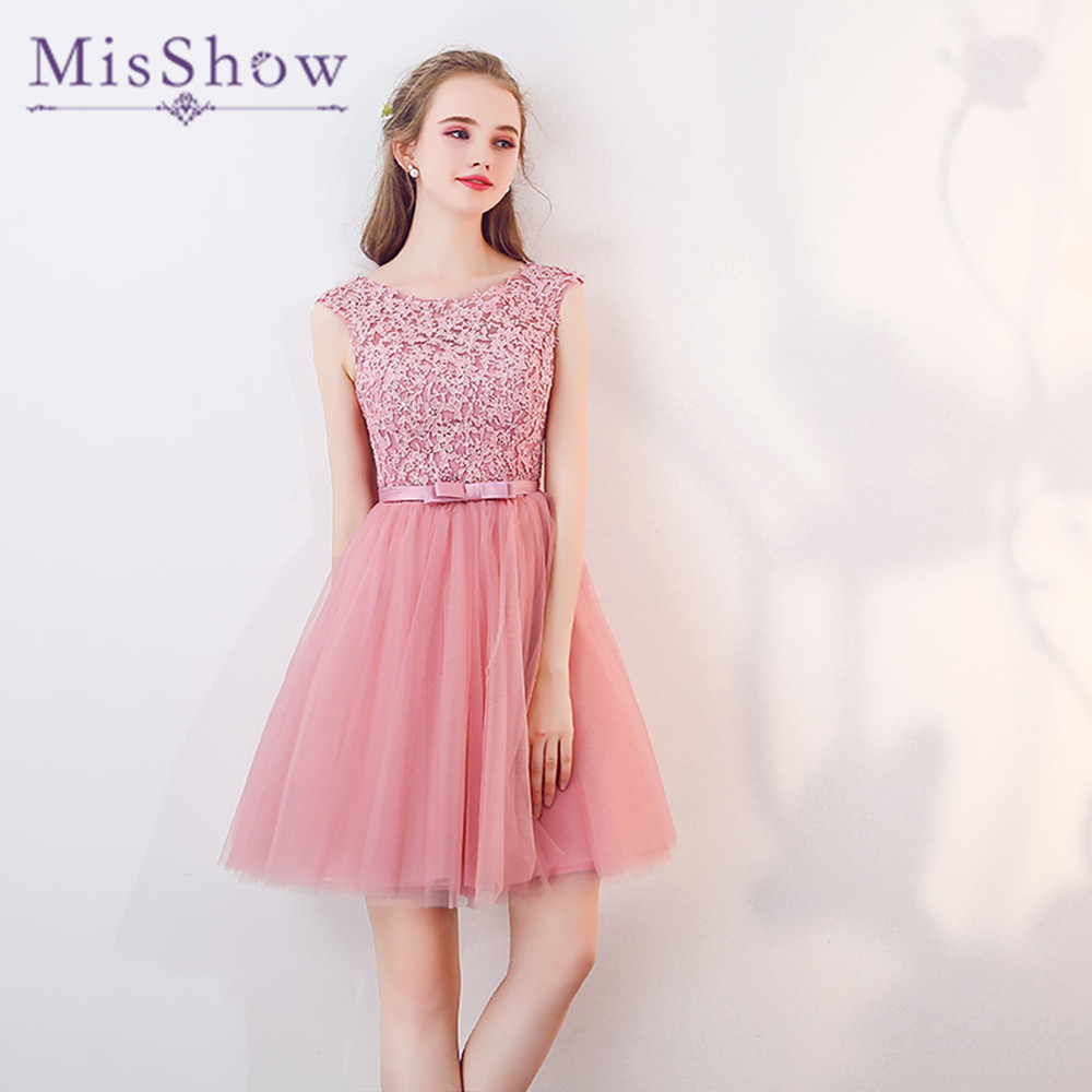 Blush rose dentelle Top Mini robe de demoiselle d'honneur femmes élégantes robes de fête de mariage robe de Dama de honra