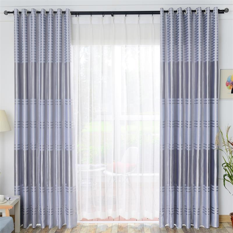 Polyester Modern Blackout Curtains Drapes for Living Room Bedroom Window Tulle Fabrics for Kitchen Jacquard Striped Curtains in Curtains from Home Garden
