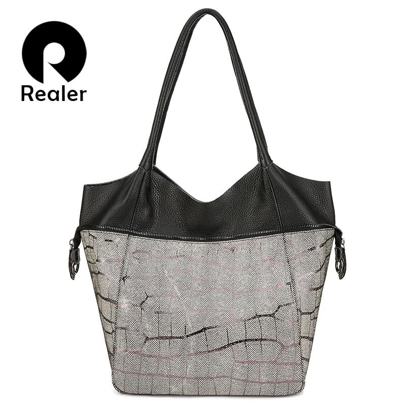 Realer Women Shoulder Bag Luxury Genuine Leather Handbag For Ladies Large Capacity Cross-body Messenger Bag Female Multifunction
