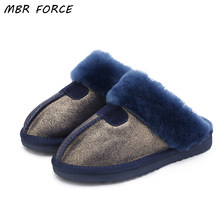 MBR FORCE Fashion Warm Women Shoes Natural Fur Slippers Home Shoes Winter Suede Slippers Woman Indoor Shoes Wool Slippers(China)