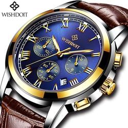 Relogio Masculino Mens Watches Top Brand Luxury WISHDOIT Men's Fashion Business Watch Men Casual Leather Waterproof Quartz Watch