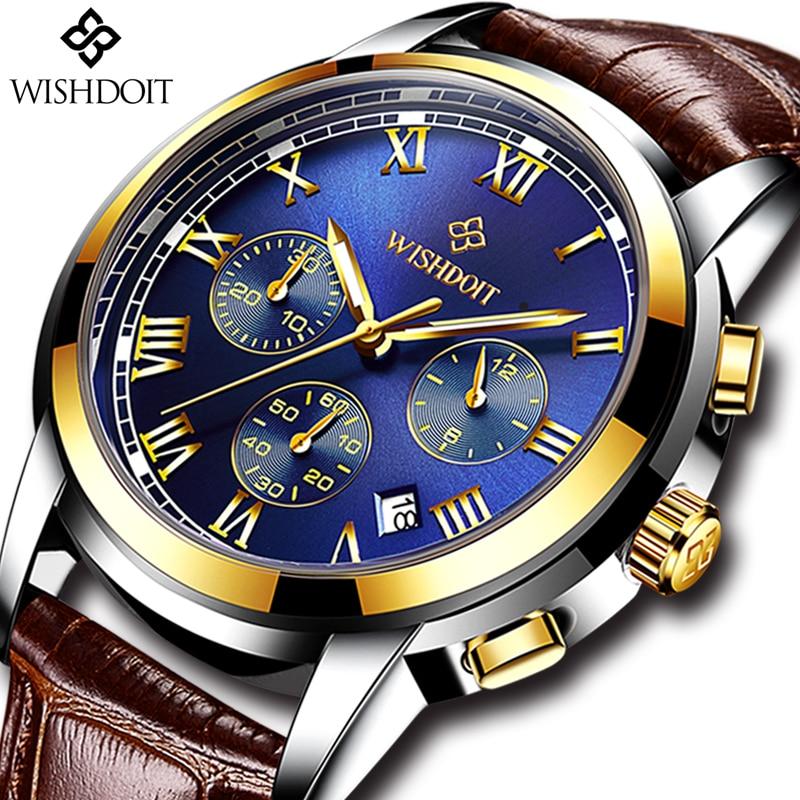 Reloj Masculino relojes superior de la marca de lujo de WISHDOIT de los hombres de negocios de moda reloj de los hombres casuales de cuero a prueba de agua reloj de cuarzo