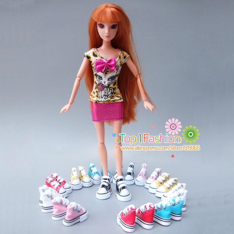 Wholesales three.5cm*2cm*3cm Doll Footwear for Blythe Licca Jb Doll Mini Footwear for Barbie doll Russian Doll 1/6 bjd Sneakers  Boots