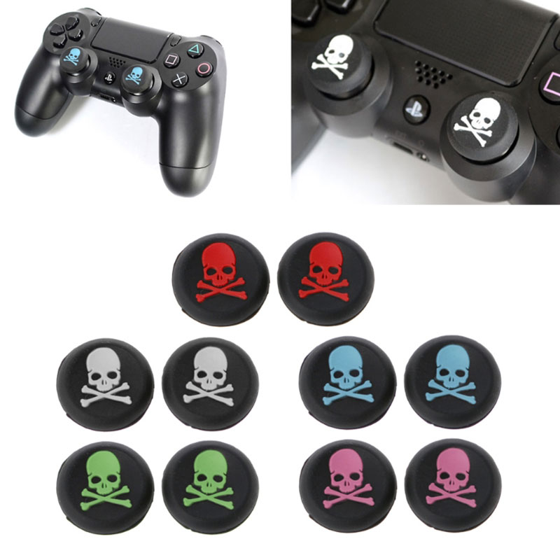 Brand 2Pcs Silicone Skull Analog Controller Thumbstick Grip Caps For PS4 Xbox One 360 Game Player Accessories