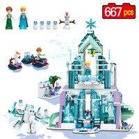 Lele عائشة إلسا الثلج القلعة نموذج اللبنات عدة ماجيك سنو قلعة اللعب الكلاسيكية متوافق legoinglys لفتاة 711 قطع