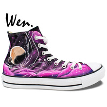 Wen Original shoes Hand Painted Design Custom Sneakers Pink Galaxy Nebula Tardis Doctor Who High Top Men Women's Canvas Sneakers