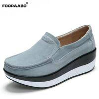 Spring Women Flats Platform Loafers Shoes Female Suede Leather Casual Shoes Slip On Flats Moccasins Creepers