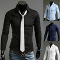 Mens Slim Long Sleeved Pretty Personalized Trim Handsome Dress Shirts Excellent Business Fitness 9 Colors 5 Sizes Z008