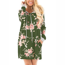 New Sexy Women Hooded Green Floral Dresses Spring Autumn Ladies Fashion Patchwork Bandage Slim Mini Hoodie Shirt Dress Vestidos