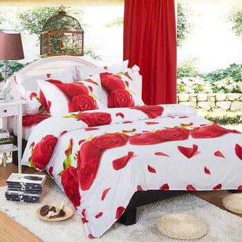 EsyDream Red Rose Wedding Bedding Sets, King Size Rose Princess Duvet Cover, Twin Size Kids Red Rose Bedlinen,Queen Size Rose