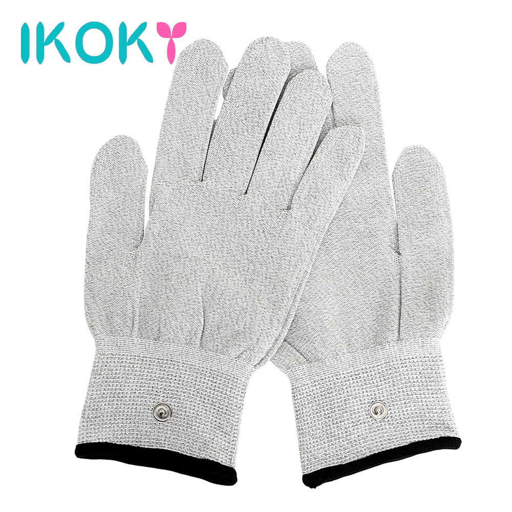 IKOKY Conductive Massage Electric Shock <font><b>Gloves</b></font> Erotic Medical Themed Toys <font><b>Sex</b></font> Toys for Men Women <font><b>Electro</b></font> Stimulation image