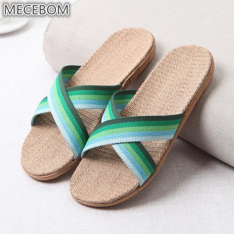 2018 Summer Flax Bathroom Home Women Flip Flop Shoes Non Slip Sandals Slipper Flat Wedge Heel Platform Shoes Chaussure Femme 25W 7